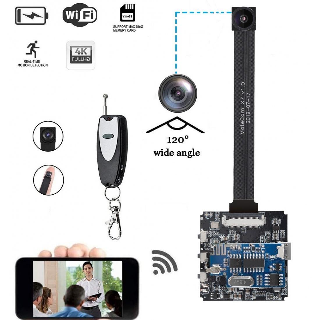 WholesalePEN SPY CAMERA WIFI- 4K Ultra HD DIY Wireless Camera 120 Degree Mini DVR Motion Detection Nanny Cam Security System APP Control Action Camera up to 256GB – MATECAM
